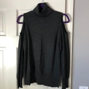 Charcoal gray turtleneck sweater cutout shoulders